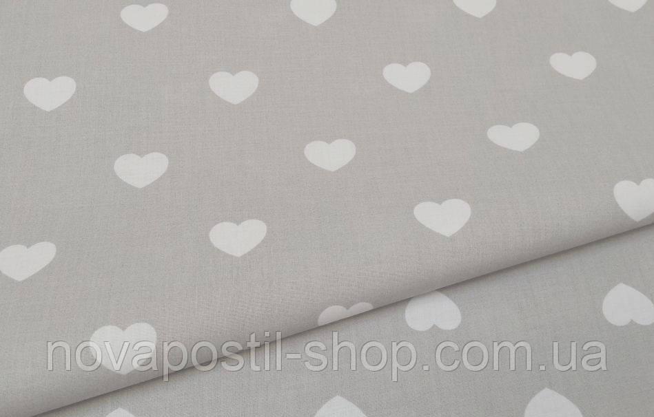 Детское постельное белье Сердечки белые на сером (100% хлопок)