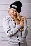 Шапка с ушками. Шапки серого цвета. Шапка женская. Теплая зимняя шапка. Женская шапка.