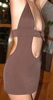 Клубное платье коричневого цвета