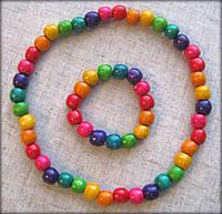Набір кольорове намисто та браслет