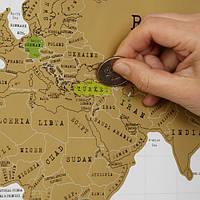 Настенная скретч карта в тубусе Scratch map Eng