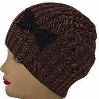 Женская шапка с бантиком на зиму