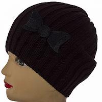Черная шапки женская с бантом