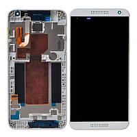 Дисплей для HTC 620/620G Desire Dual sim + touchscreen, серый, с передней панелью белого цвета