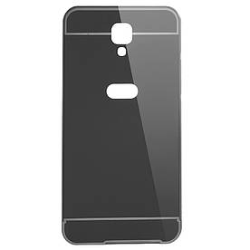 Чехол бампер для LG X Screen / X View K500DS металлический со съемной зеркальной крышкой, черный