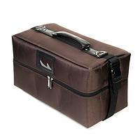 Профессиональный кейс для косметики с вынимающимся органайзером, коричневый тканевый