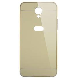 Чехол бампер для LG X Screen / X View K500DS металлический со съемной зеркальной крышкой, золотистый