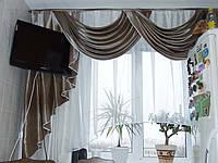 """Ламбрекен для кухни № 54 """"Перекиды"""" микровуаль с аркой"""
