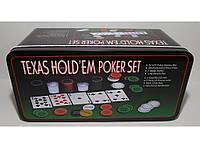 Набор для игры в покер в метал. упаковке (200 фишек+2 колоды карт+полотно) i3-96, покерный набор