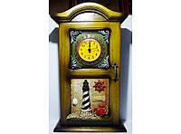 Ключница часы настенная KC233D, шкафчик для ключей на 4 крючка, ключница морской узел с часами