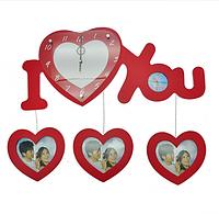Семейные часы I Love You Красные  настенные пластик