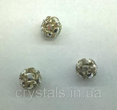 Стразовая бусина Preciosa (Чехия) 10 мм Crystal Labrador/серебро