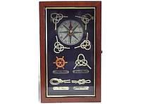 Ключница с часами KC2515A, часы-ключница в морском стиле, деревянный шкафчик для хранения ключей