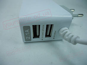 """Сетевое зарядное устройство """" Samsung """" с двумя USB выходами + кабель 2,1А компакт (пакет), фото 2"""