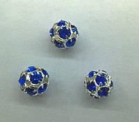 Стразовая бусина Preciosa (Чехия) 10 мм Sapphire/серебро