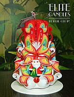 Новогодний подарок, резная свеча украшена снеговиком, ручной работы