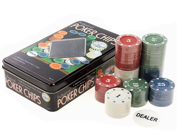 Фишки для покера 100 фишек с номиналом в металлической коробке, фото 2