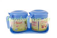 Набор баночек для сыпучих продуктов из 2-х с пластиковой крышкой V300мл_D 8,5см H10см