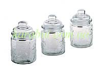 Набор стеклянных баночек для сыпучих продуктов из 3-х штук клубнички D 7,5см H13см