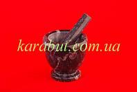 Ступка для специй мраморная тёмно-серая с ободком_D10,5см H10см