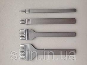 Набор вилочных просечек 1-2-4-6 зубьев, растояние между центрами зубьев 5 мм,  артикул СК 6012