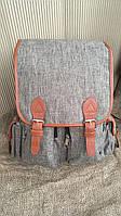 Рюкзак серый с кожаными ремешками