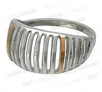 Женское серебряное кольцо с золотыми пластинами Скарабей