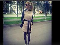 Женское пальто с вставками экокожи  МС 162NW