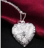 Сердечко на цепочке с секретом Tiffany. Покрытие серебром 925 (TF-P185)