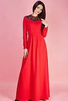 Оригинальное красное платье в пол с вставкой черного кружева