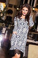 Женское вязанное платье с кружевом  КВ 380NW