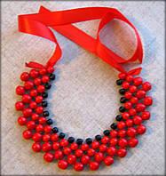 Намисто Кольє. червоно-чорне, виготовлене з дерева