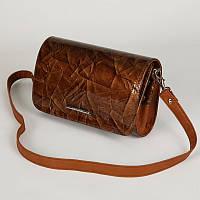 Лаковый коричневый клатч маленькая сумочка