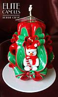 Свічка новорічна, ручна робота, красиво прикрашена сніговиком ручної роботи
