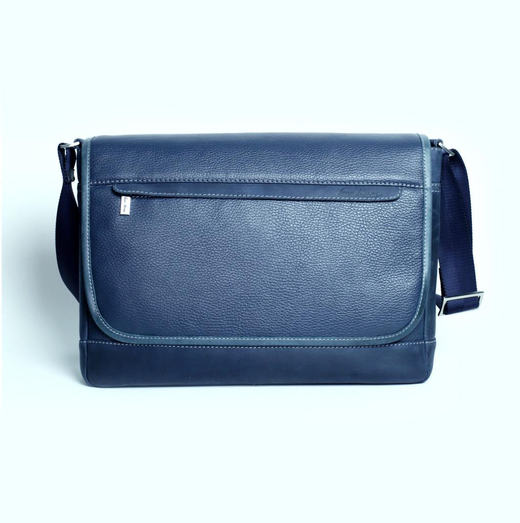 Кожаная мужская сумка Issa Hara B5 синяя