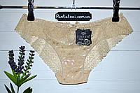 Трусики ажурные телесные низкая посадка с вышивкой Coeur Joie
