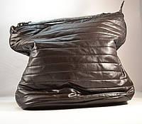 Женская сумка-мешок коричневая стеганная на плечо POTRI PF 576