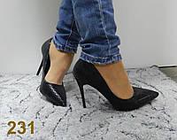 Женские туфли лодочки на шпильке черный цвет под питон 36 39 40р.