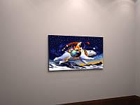 Детская сказочная картина на холсте в интерьер Белый медведь Абстракция Звездное небо 60х40