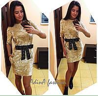 Женское стильное бархатное платье (4 цвета), фото 1