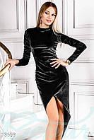 Асимметричное черное бархатное платье