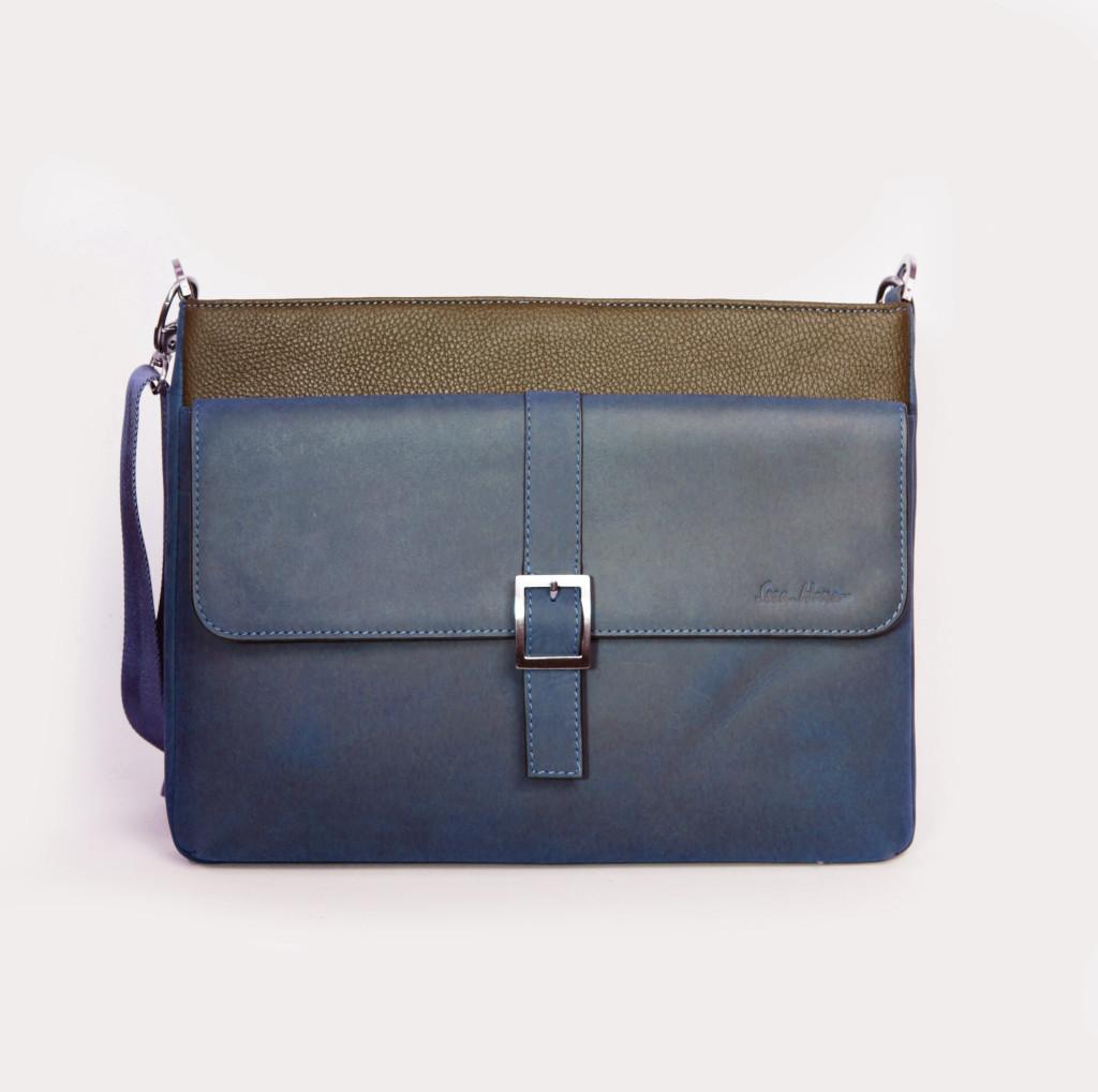 Кожаная мужская сумка Issa Hara B17 синяя