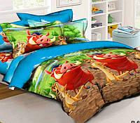 Подростковое постельное белье Тимон и Пумба, ранфорс 100%хлопок - двуспальный комплект