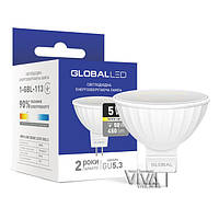LED лампа GLOBAL MR16 5W GU5.3 теплый свет 3000K 220V (1-GBL-113)