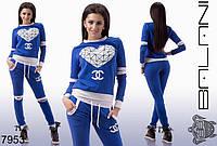 Костюм женский спортивный с разрезами на локтях и коленях лого Шанель