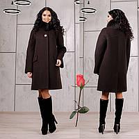 Зимнее пальто с отстегивающимся мехом на воротнике  F  77978  Шоколад