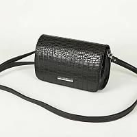 Клатч черный женский крокодиловая фактура