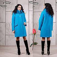 Зимнее пальто с отстегивающимся воротником  F  77978  Голубой