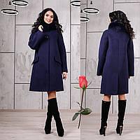 Зимнее пальто с отстегивающимся мехом на воротнике  F  77978  Синий темный