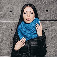 Васильковый вязаный шарф